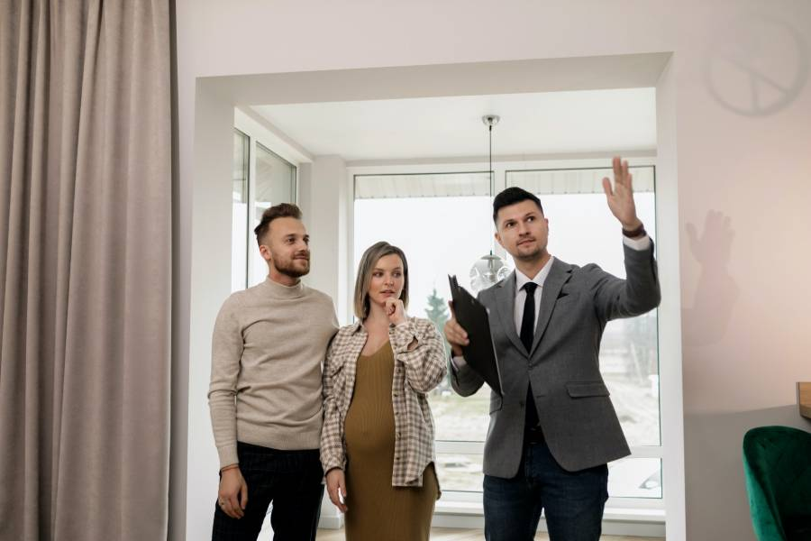 A realtor holding an open house with potential buyers